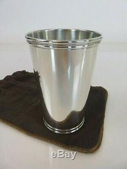 Fine Tall Tiffany & Co. Sterling Silver Beaker Tumbler Mint Julep Cup & Pouch