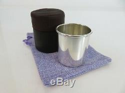 Fine Towle Sterling Silver Jigger Double Shot Cup Beaker & Leather Case, c1915