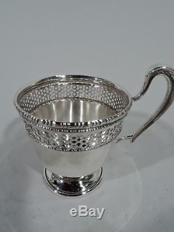 Frank M Whiting Demitasse Cup Holders & Lenox Liners Sterling Silver Porcelain