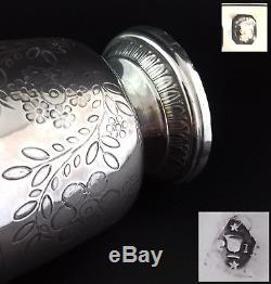 French Antique Sterling Silver Wine Cup Beaker Timbale Tulip Engraved c. 1840