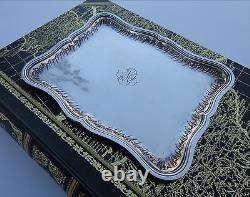 French Art Nouveau Christmas Silver Splash Wave Goblets Cups Tray Fully Marked