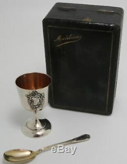 French Sterling Silver Childs Christening Cup and Spoon by Henri Soufflot 1884