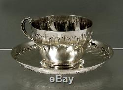 French Sterling Silver Cup & Saucer c1890 SIGNED