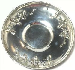 French Sterling Silver Floral Decorated Cup & Saucer