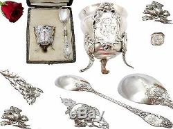 French Sterling Silver & Vermeil Egg Cup and spoon withbox ART NOUVEAU 1897