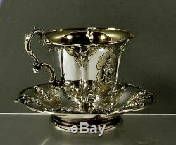 French Sterling Tea Set Cup & Saucer c1840 Martial Fray, Paris