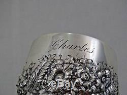 GORGEOUS ANTIQUE TIFFANY STERLING SILVER CUP MUG HAND CHASED REPOUSSE Charles