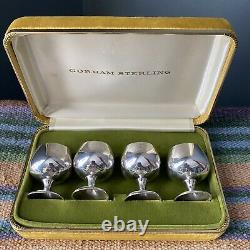 Gorham Sterling Silver Antique Set of Liquor Cordial Glasses Goblets With Box