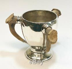 Gorham Sterling Silver & Antler Handled Loving Cup #A3923B, circa 1890