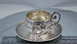 Gustave Veyrat French 950 Sterling Silver Rococo Style Tea Cup & Saucer teacup