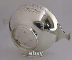 HEAVY SCOTTISH STERLING SILVER WHISKY CUP QUAICH CUP 1964 PEEBLES INTEREST 123g