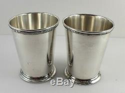 International P705 Sterling Silver Mint Julep Cups 4 1/8 Set of 2 withMono