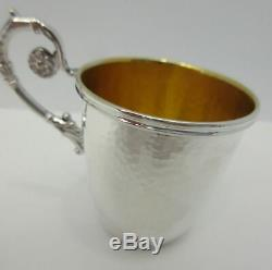 Italian 925 Sterling Silver & Gilded Hammered Floral Yeled Tov Good Boy Baby Cup