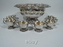 JE Caldwell Punch Bowl & Cups Antique Centerpiece American Sterling Silver