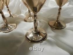 JLR Lopez Reyes Sterling Silver Tall Goblets Wine cups set of 5 OLD Mexico. 925