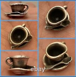 James Avery Coffee Teacup Cup Spoon 3D Sterling Silver Charm Rare