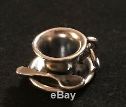 James Avery Tea Cup Saucer Spoon Coffee Charm Sterling Retired Loop Is Cut