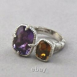 Judith Ripka Sterling Silver Kissing Cup Amethyst Citrine Ring Size 8