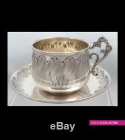 LARGE ANTIQUE 1880s FRENCH STERLING SILVER TEA CUP & SAUCER Rococo 6.3 X 3.35 in