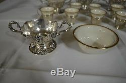 LENOX & STERLING SILVER 6 DESSERT BOWLS & 10 DEMITASSE CUPS With HOLDERS