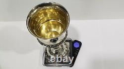 Large Judaica Kiddush Sterling Silver Wine Cup With Eilat Stones