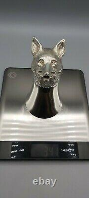 Large Mid Century 925 Solid Sterling Silver Fox Head Stirrup Cup R. Comyns 1970