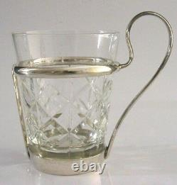 Large Solid Silver Hot Toddy Glass Cup English Antique 1916 Bar Ware