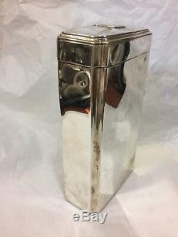 Lebkuecher & Co Sterling Silver 1qt Flask Travel Whiskey Bottle with 2 shot cups