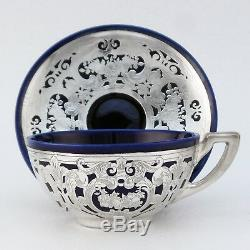 Lenox China Cobalt Demitasse Cup & Saucer Reed Barton Sterling Silver Overlay