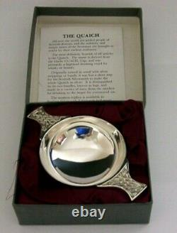 MINT SCOTTISH BOXED SOLID STERLING SILVER WHISKY CUP QUAICH CUP 1995 72g CELTIC