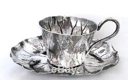Magnificent Meiji Japanese Sterling Silver Lily Pad Motif Tea Cup & Saucer