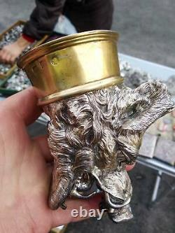 Massive Antique Imperial Russian Sterling Silver 84 Vodka Cup Boar Signed 496gr