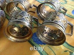 Middle Eastern Antique Silver & Copper 8 Cup Holders
