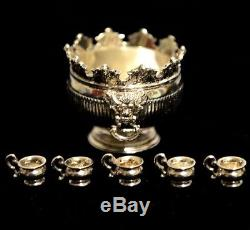 Miniature Sterling Silver Punch Bowl with Cups Dollhouse 112 Peter Acquisto