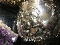 Monumental Antique English Sterling Hand Embossed Horse Chalice/Trophy/Cup