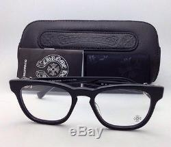 New CHROME HEARTS Eyeglasses LOUVIN CUP BK 48-19 Black Frames with Sterling Silver
