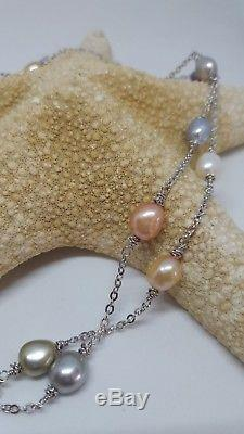 New! HONORA CRUSH TIN CUP NECKLACE 36 WATERLILIES STERLING SILVER PASTELS