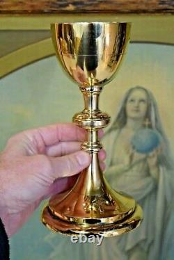 Nice Antique Gold Plated Chalice 8 5/8 ht (CU#349) Cup Sterling Silver