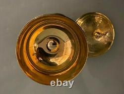 Old Catholic Ciborium Sterling Silver Cup w Brass Base Lily Motif I AM THE VINE