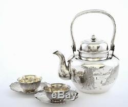 Old Japanese Incised Sterling Silver Teapot & 2 Cup & Saucer Marked