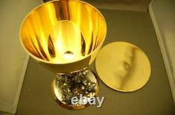 + Older Cup Sterling Silver Beaugrand Chalice Grape Vine with paten & case +