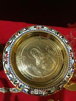 Orthodox Chalice Set Greek Russian Sterling Silver Cup Enameled Case Disk Spoon