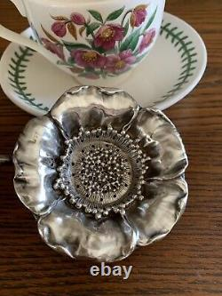 POPPY Art Nouveau STERLING SILVER Over cup Tea Strainer Figural Floral with handle