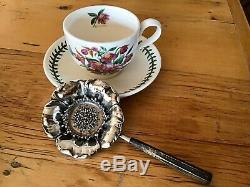 POPPY Art Nouveau STERLING SILVER Over cup Tea Strainer with handle Floral Figural
