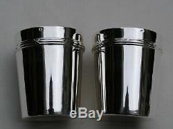PUIFORCAT DEUX TIMBALES ARGENT MASSIF Sterling Silver Beaker, Wine, Water Cups