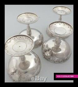 PUIFORCAT RARE ANTIQUE 1880s FRENCH STERLING SILVER ICE CREAM CUPS SET 4pc