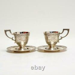 Pair (2) Vintage Mauser For Brand-hier, Chased Sterling Demitasse Cups & Saucers
