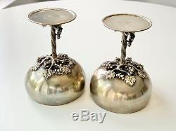 Pair AVANTI Mexican STERLING Silver SATYR & NUDE MAIDEN Figural Wine GOBLET Cups