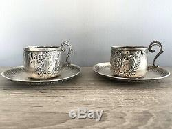 Pair Of French Silver Coffee Cups & Saucers By Henri Gabert C1882-1901