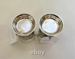 Pair Solid Sterling Silver 925 Vodka Shot Cups Musketeers Tag Gift Box 119 gr
